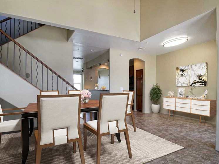 Digitally Stagged dining room at Dolce Villagio Townhomes in Tempe AZ 3-20