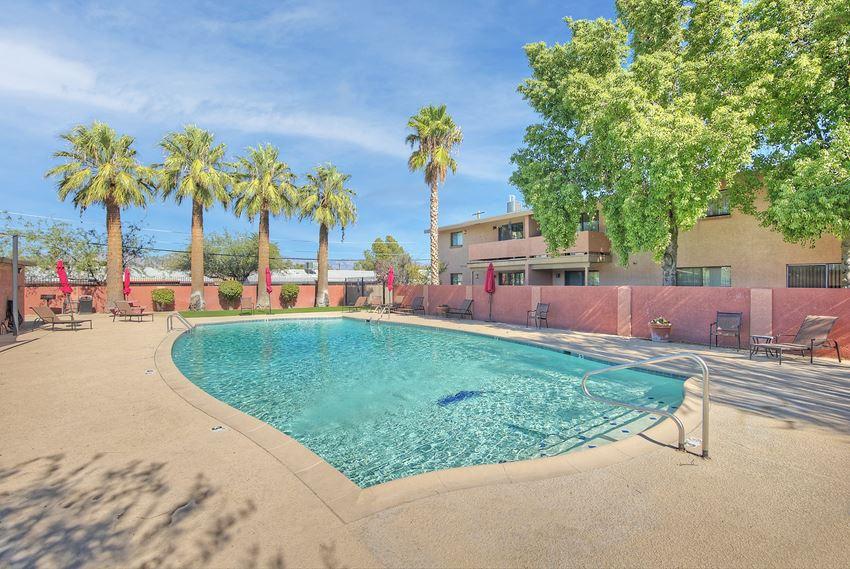 Pool and pool patio at San Simeon Apartments in Tucson AZ November 2020