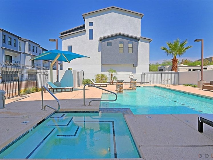 Pool area at Dolce Villagio Townhomes in Tempe AZ