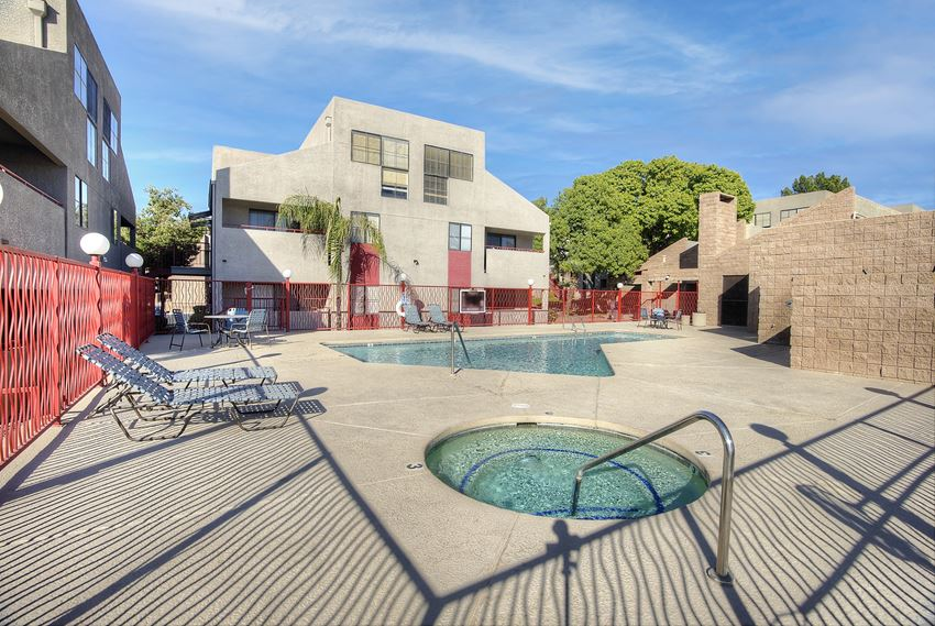 Pool pool patio and sap at Nine90 Apartments in Tucson AZ November 2020