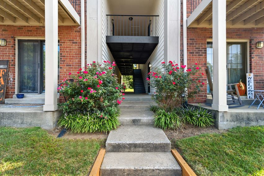 Walkway at Laurel Valley Apartments in Mount Juliet Tennessee March 2021