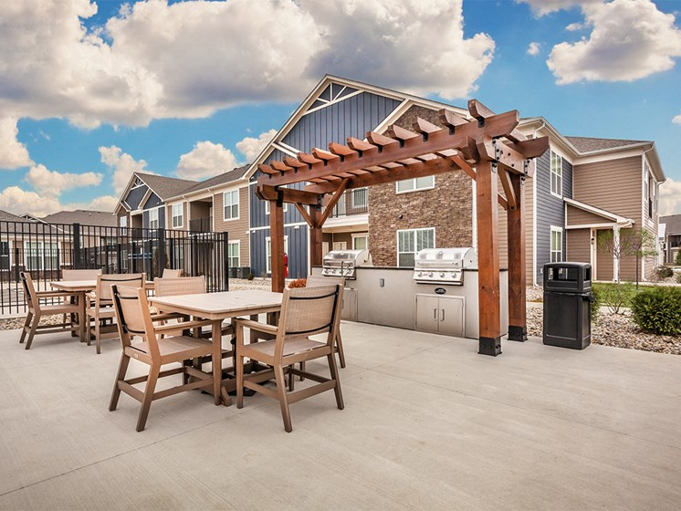 outdoor patio and grill area