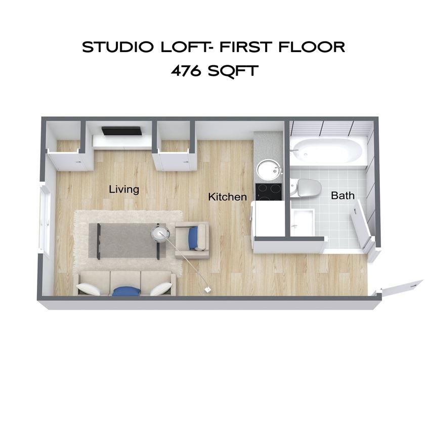 Studio w/ loft - 2nd floor unit