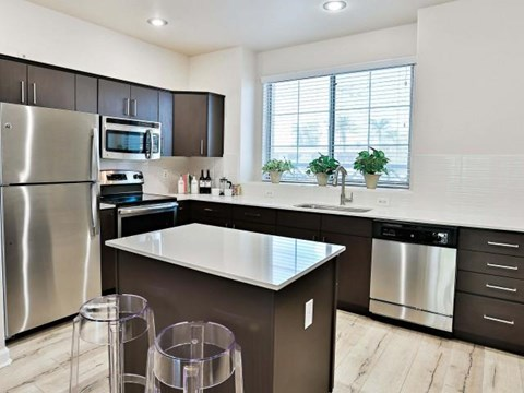 The highland apartments phoenix kitchen with island