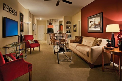 Vue Park West Apartments model living room