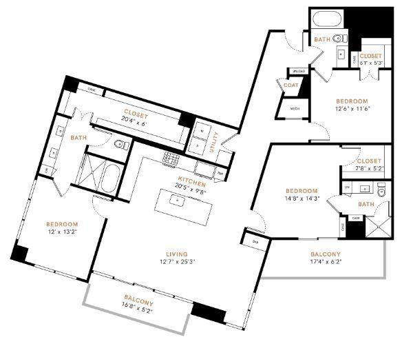 Three bedroom, Three bathroom, Kitchen, dining room, living room, laundry room, patio with storage, 3 walk in closets. C1P floor plan, 1808 square feet.