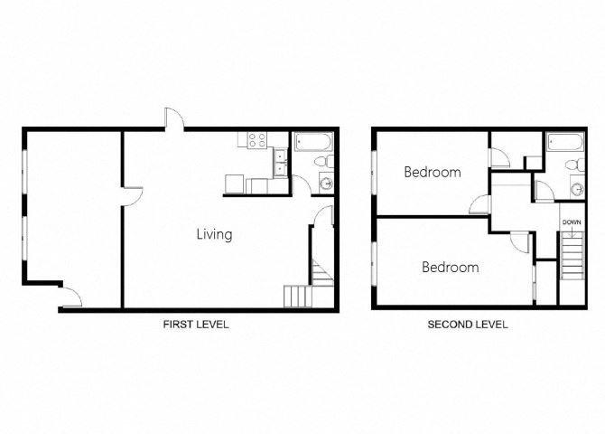 2 Bedroom 2 Bath Townhouse