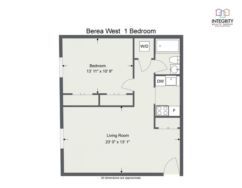 1 Bedroom - 2D Floor Plan at Integrity Berea Apartments, Integrity Realty LLC, Berea, Ohio