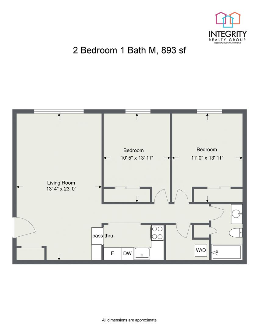 2 Bedroom 1 Bath Floor Plan at Integrity Berea Apartments, Integrity Realty LLC, Berea