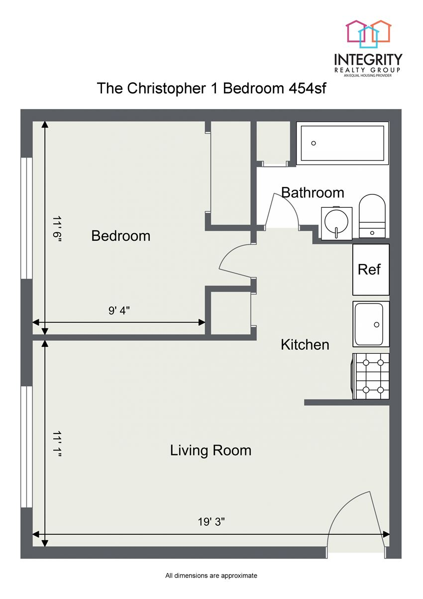 1 Bedroom 1 Bathroom Floor Plan at Integrity Berea Apartments, Integrity Realty LLC, Berea, Ohio
