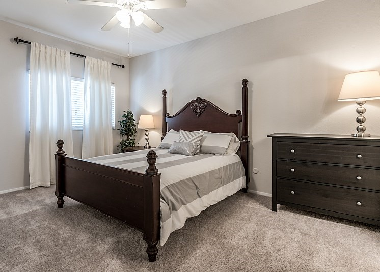 Bedroom With Expansive Windows at Augusta Court Apartments, Houston, TX