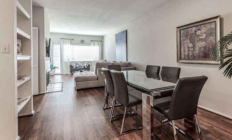 Dining  and Living Room with Virtually Staged Furniture at Augusta Court Apartments, Texas
