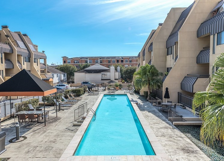 Aerial View Of Pool at Augusta Court Apartments, Houston