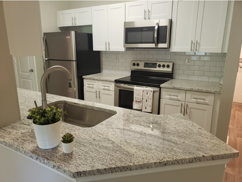 Renovated kitchen with granite