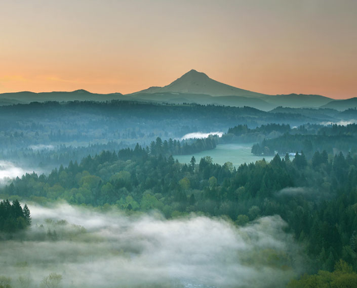 Mount Hood is nature's inspiration to the east, as seen near Portland, Oregon