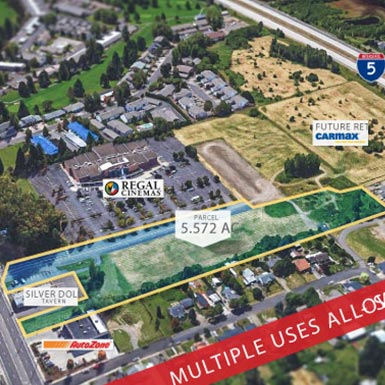 Commercial land offered by TMT Development includes this 5-plus acre plot in Salem, Oregon, south of Portland.