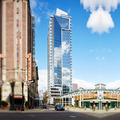 This is TMT Development's 30-story Park Avenue West tower in the Central Business District in downtown Portland, Oregon