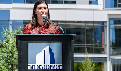 TMT Development CEO Vanessa Sturgeon speaks at the Park Avenue West grand opening.