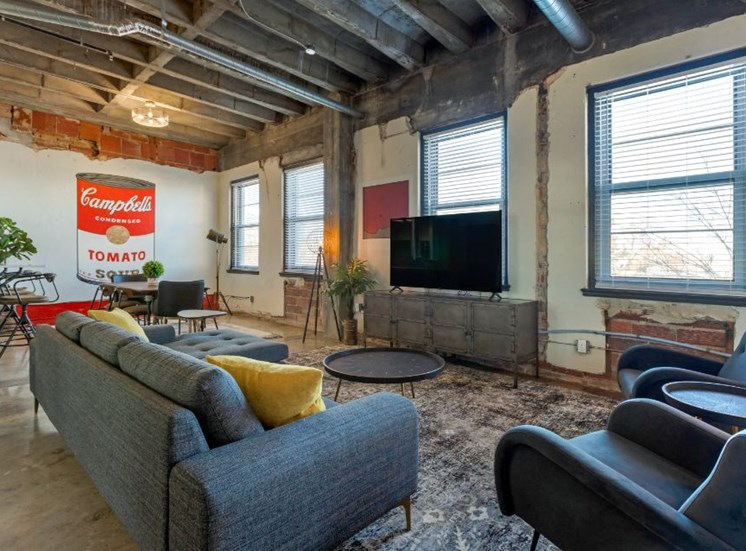 Open Concept Industrial Style Living Room