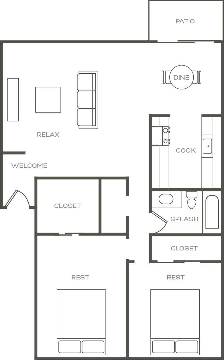 2 Bed 2 Bath Floor Plan