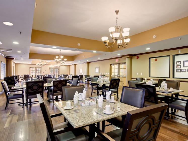 Enjoy a delicious meal in our dining room.