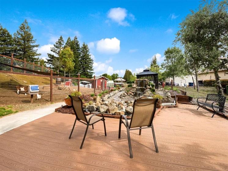 Inviting Outdoor Lounge at Healdsburg, A Pacifica Senior Living Community, near Santa Rosa, California