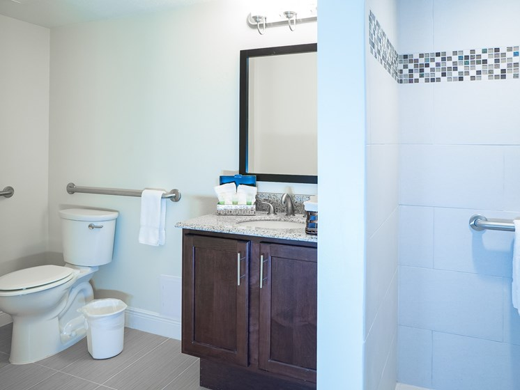 Full-size bathrooms in every unit.