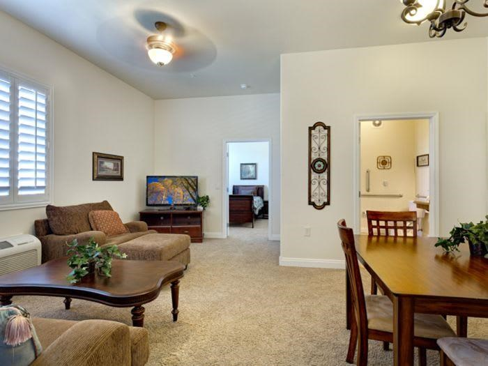 Homey living room at Pacifica Senior Living San Martin in Las Vegas, NV