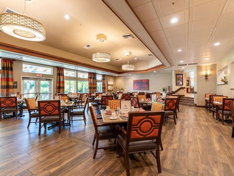 Elegant Dining Room at Healdsburg, A Pacifica Senior Living Community, Healdsburg, CA, 95448
