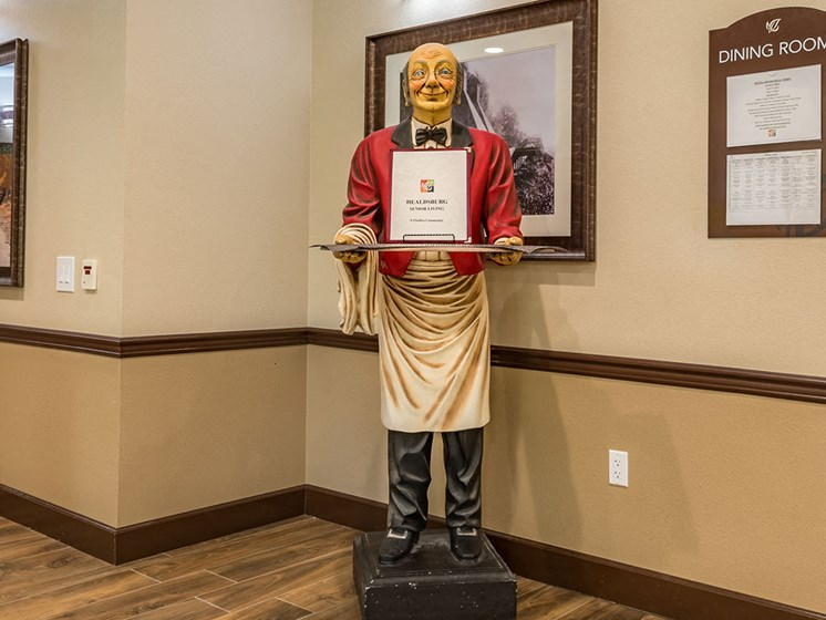 Statue Near Dining Room at Healdsburg, A Pacifica Senior Living Community, Healdsburg