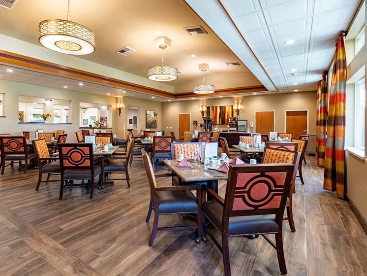 Graceful Dining Area at Healdsburg, A Pacifica Senior Living Community, Healdsburg, California