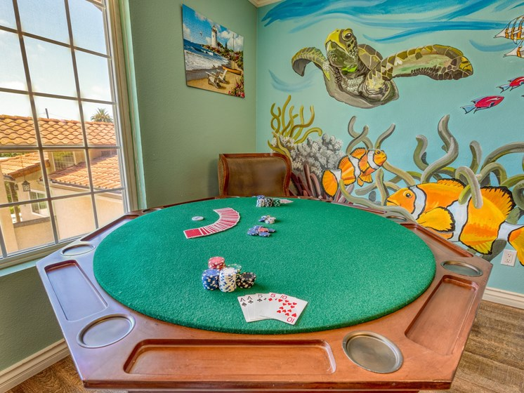 Enjoy a game of cards at Pacifica Senior Living South Coast.