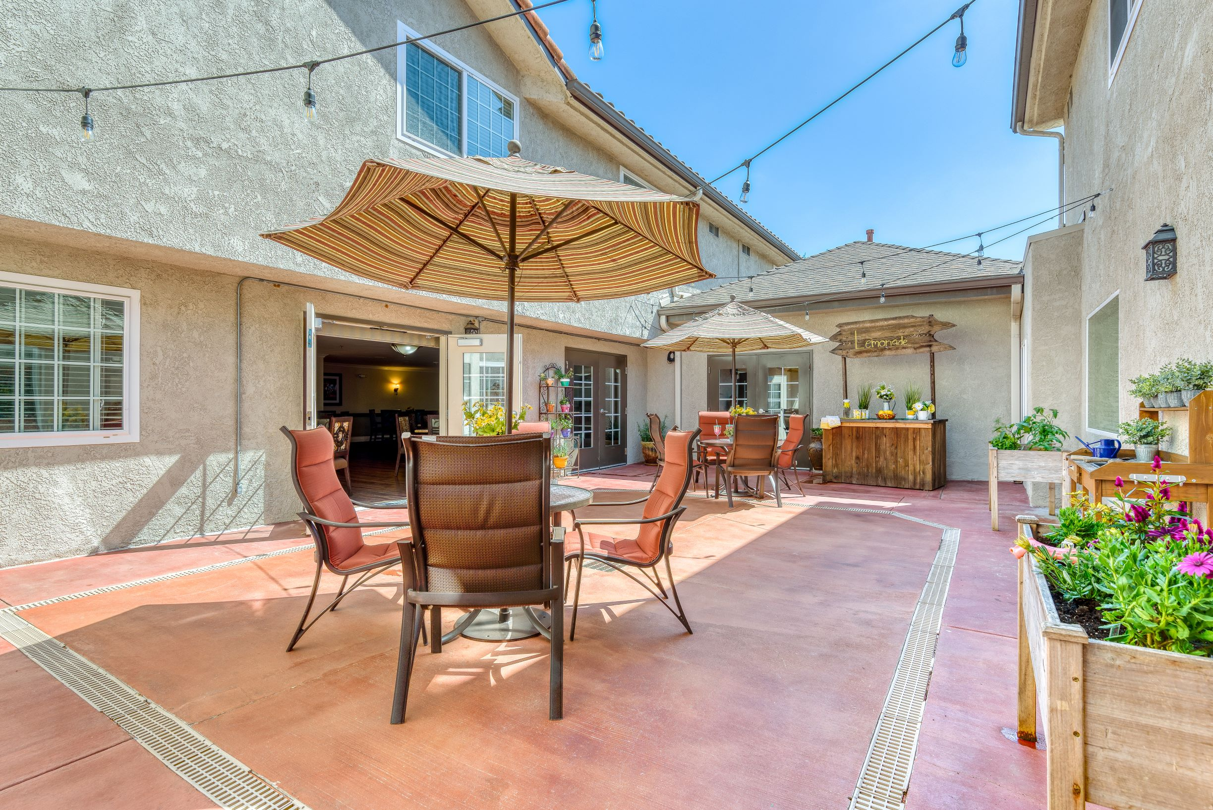 Relax and enjoy the weather at Pacifica Senior Living South Coast.
