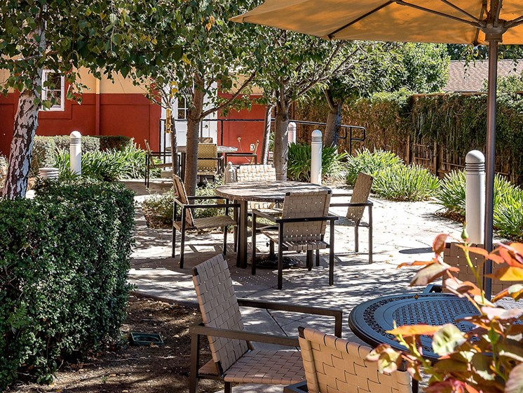 Outdoor Lounge Area at Pacifica Senior Living Union City, Union City, 94587
