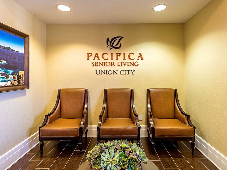 Welcome Area Lounge at Pacifica Senior Living Union City, Union City, CA