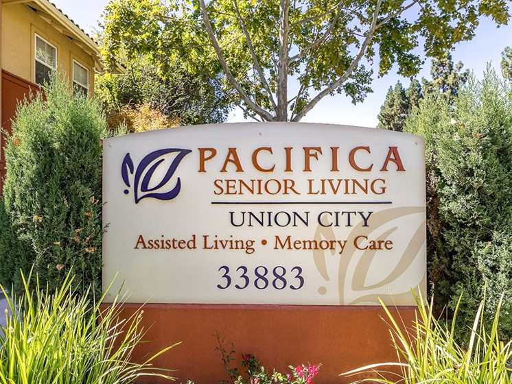 Welcoming Property Signage at Pacifica Senior Living Union City, Union City