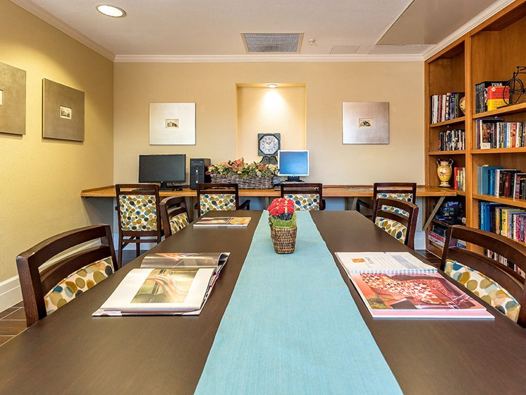Beautiful Lounge Area In Library at Pacifica Senior Living Union City, Union City, California