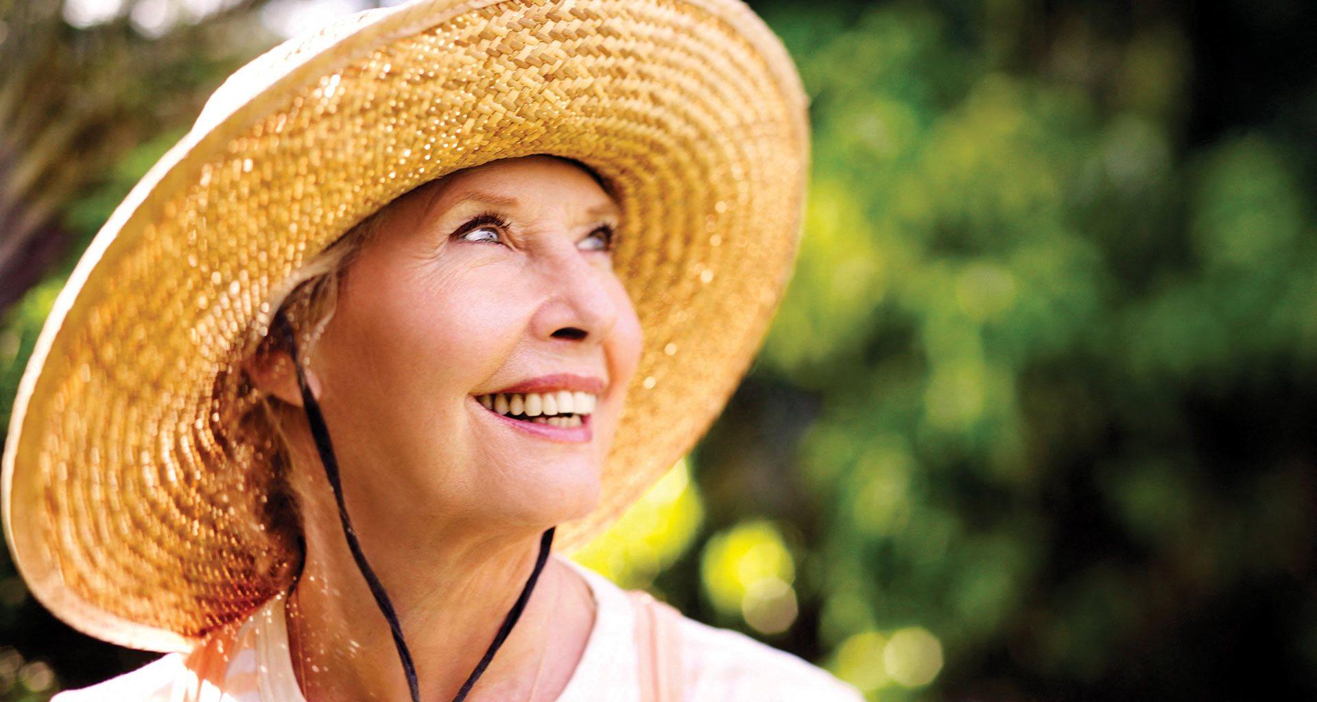 Old Lady Wearing Hat at Meridian at Laguna Hills, California, 92653,at Meridian at Laguna Hills, California