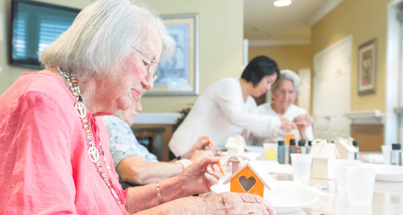Pacifica Senior Living Vacaville Resident Enjoys Arts and Crafts Activities On-Campus in Vacaville, Solano County.
