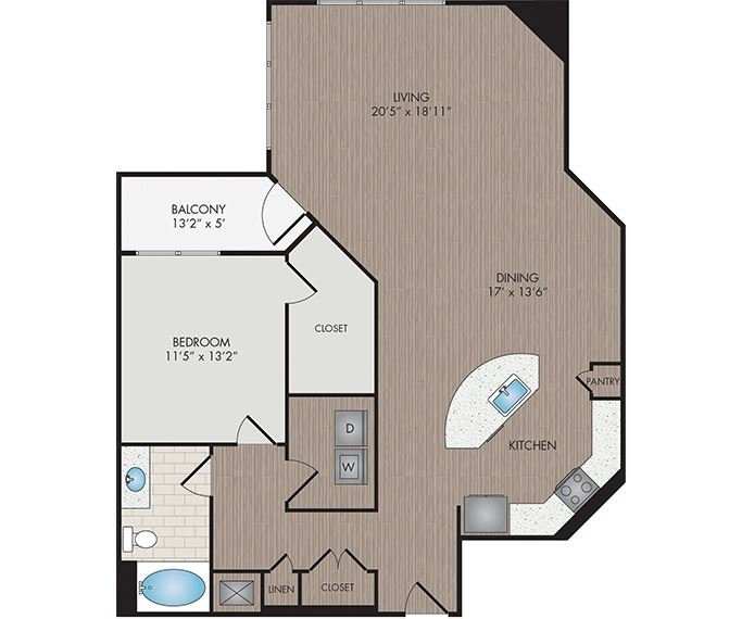 Marshall Park Apartments & Townhomes - Raleigh, NC- James floor plan 1209 Sq Ft