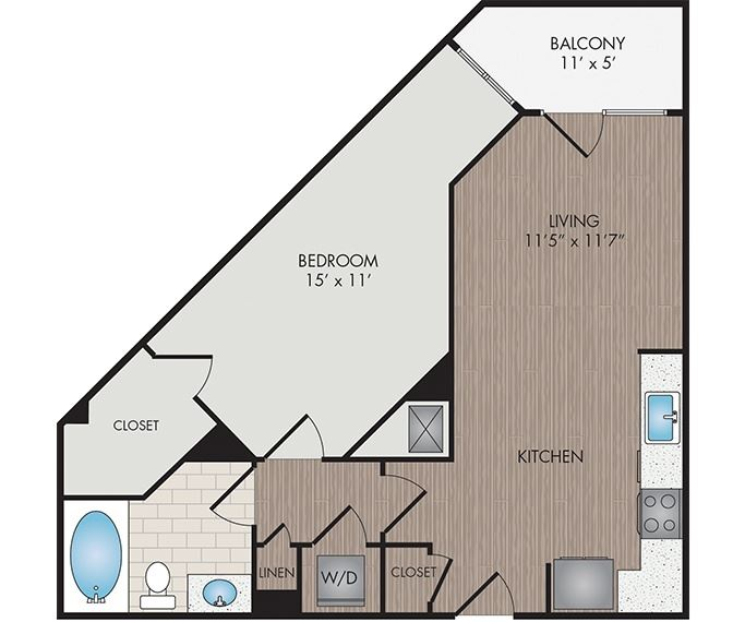 Marshall Park Apartments & Townhomes - Raleigh, NC- Abbott floor plan 695 Sq Ft
