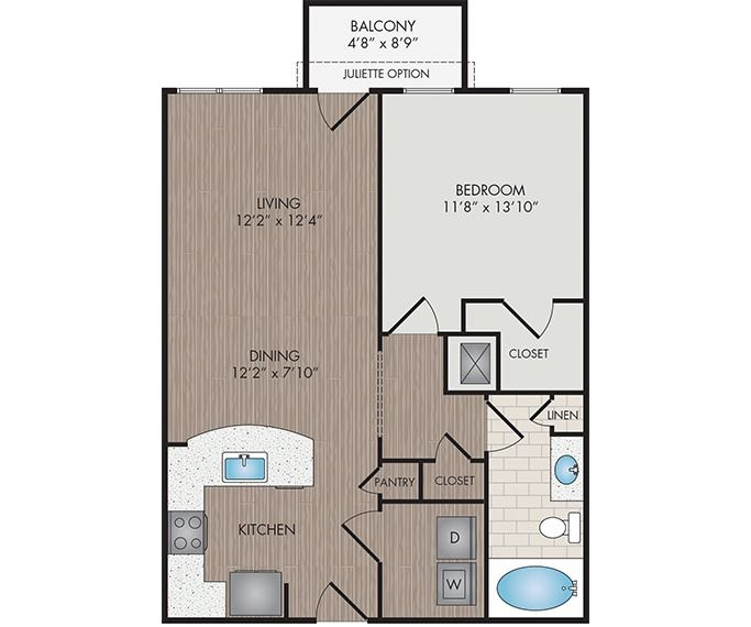 Marshall Park Apartments & Townhomes - Raleigh, NC- Baileywick floor plan 765 Sq Ft