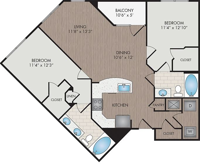 Marshall Park Apartments & Townhomes - Raleigh, NC- Macon floor plan 1083 Sq Ft