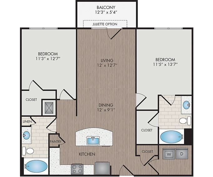 Marshall Park Apartments & Townhomes - Raleigh, NC- Mitchell floor plan 1112 Sq Ft