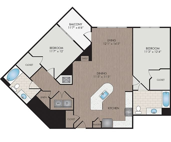 Marshall Park Apartments & Townhomes - Raleigh, NC- Pettigrew floor plan 1213 Sq Ft