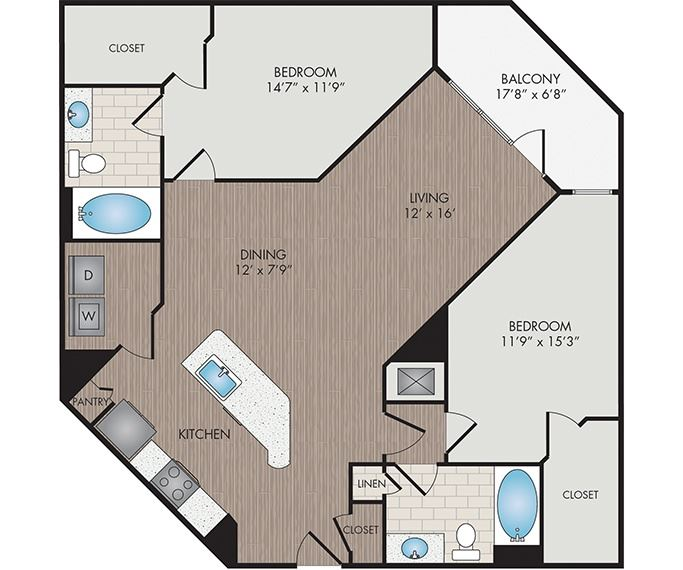 Marshall Park Apartments & Townhomes - Raleigh, NC- Umstead floor plan 1297 Sq Ft