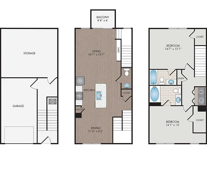 Marshall Park Apartments & Townhomes - Raleigh, NC- Wakefield / Walnut Townhomes floor plan 1561 Sq Ft
