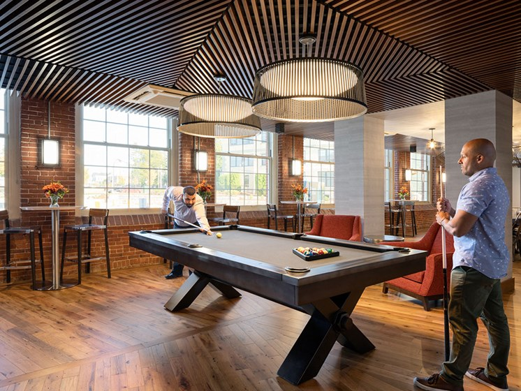 Billiards Table In Clubhouse at Thorndike Exchange, Lowell, Massachusetts