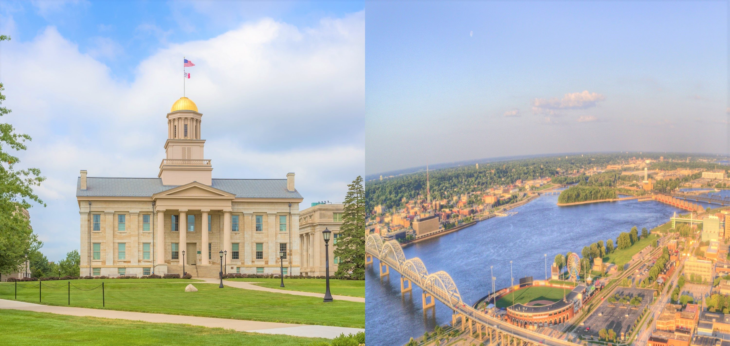 Old Capital Building in Iowa City and River in Davenport
