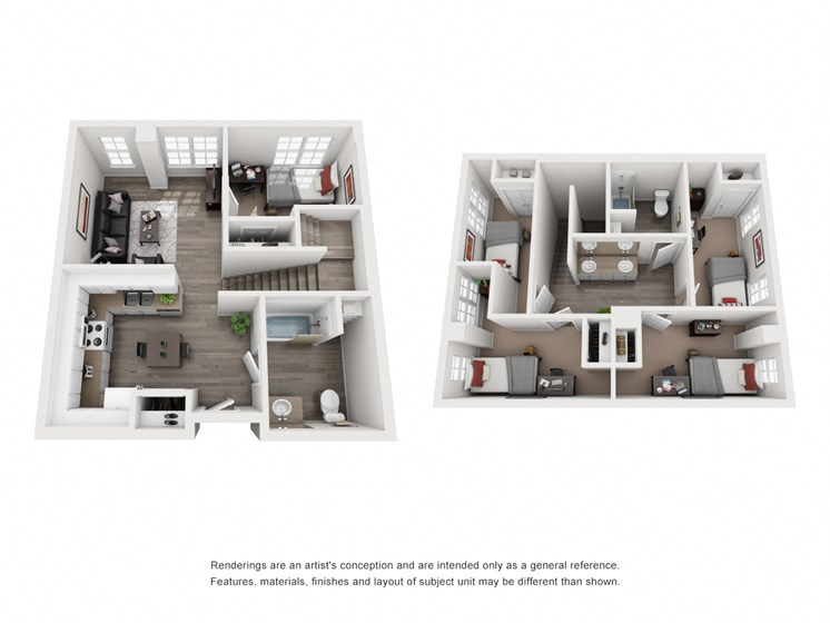 Spinner Place 5 bed and 2 bath Townhome Floorplan